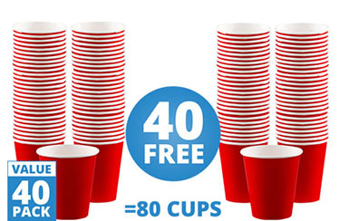 Red Coffee Cups - 340ml Paper Party Cups