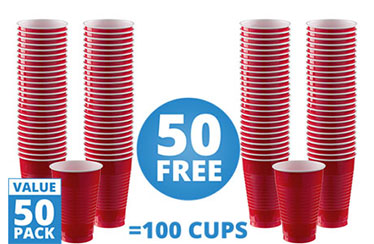 Red Cups - 355ml Plastic Party Cups