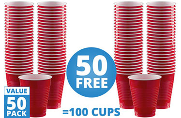 Red Cups - 473ml Plastic Party Cups
