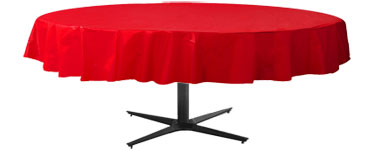 Red Round Tablecover - Plastic - 2.1m