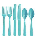 Robin's-Egg Blue Plastic Cutlery - Assorted Party Pack
