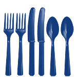 Royal Blue Plastic Cutlery - Assorted Party Pack
