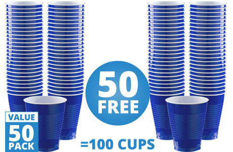 Royal Blue Cups - 473ml Plastic Party Cups