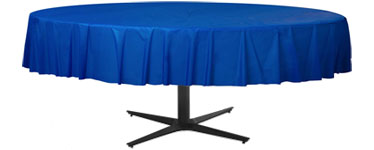 Royal Blue Round Tablecover - Plastic - 2.1m