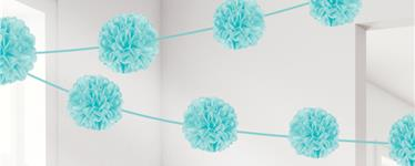 Robins Egg Blue Pom Pom Garland - 3.7m