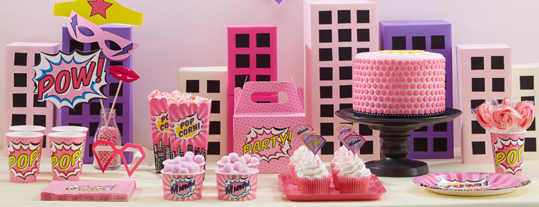 Pink Pop Art Superhero Party Supplies