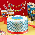 Pop Art Superhero Birthday Cake Bunting Decoration