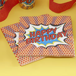 "Pop Art Superhero ""Happy Birthday"" Napkins - 2ply Paper"