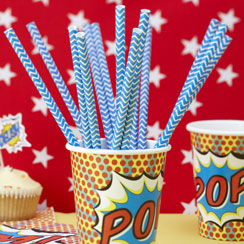 Pop Art Superhero Blue Paper Straws