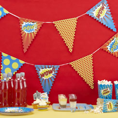 Pop Art Superhero Paper Bunting - 3.5m
