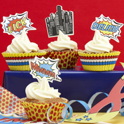 Pop Art Superhero Cupcake Cases & Toppers