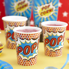 Pop Art Superhero Party Cups - 9oz Paper