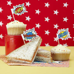Pop Art Superhero Party Food Flag Picks