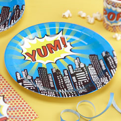 Pop Art Superhero Plates - 23cm Paper Party Plates