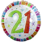 "Radiant 21st Birthday Round Balloon - 18"" Foil"