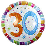 "30th Birthday Radiant Round Balloon - 18"" Foil"