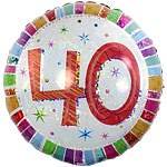 "40th Birthday Radiant Round Balloon - 18"" Foil"