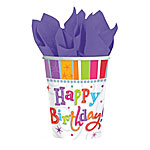 Happy Birthday Radiant Cups - 288ml Paper Party Cups