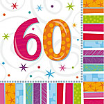 60th Birthday Radiant Luncheon Napkins - 2ply Paper
