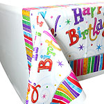 Happy Birthday Radiant Plastic Tablecover - 137cm x 259cm