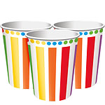 Rainbow Party Cups - 256ml Paper Party Cups