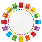 Rainbow Party Dinner Plates - 23cm Paper Party Plates