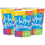 Retirement Cups - 255ml Paper Party Cups
