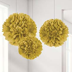 Set of 3 different sized Gold Pom Poms - 40cm