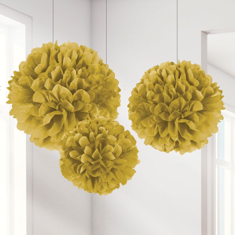 Set Of 3 Different Sized Gold Pom Pom Decorations - 40cm