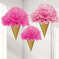 Ice Cream Pom Pom Decorations - 40cm