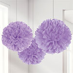Lilac Pom Pom Decorations - 40cm