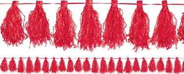 Red Tassel Garland Decoration - 3m