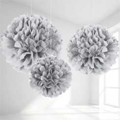 Set Of 3 Different Sized Silver Pom Pom Decorations - 40cm