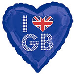 "I Love GB Great Britain Blue Heart Shaped Balloon - 18"" Foil"
