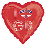 I Love GB Red Heart 18'' Foil Balloon