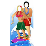 Surfer Couple Stand In Cardboard Cutout - 183cm
