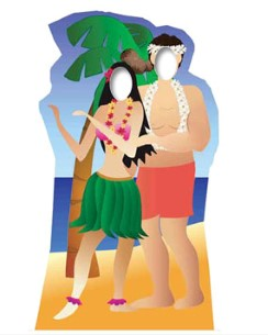 Hawaii Couple Stand In Cardboard Cutout - 6ft