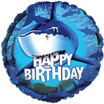"Shark Splash Happy Birthday Round Balloon - 18"" Foil"
