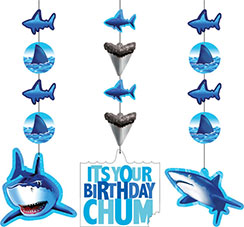 Shark Splash Party Hanging Cutouts - 91cm