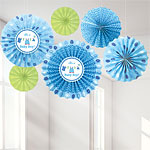Boy's Shower With Love Paper Fans - 40cm