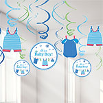 Boy's Shower With Love Hanging Swirls - 18cm