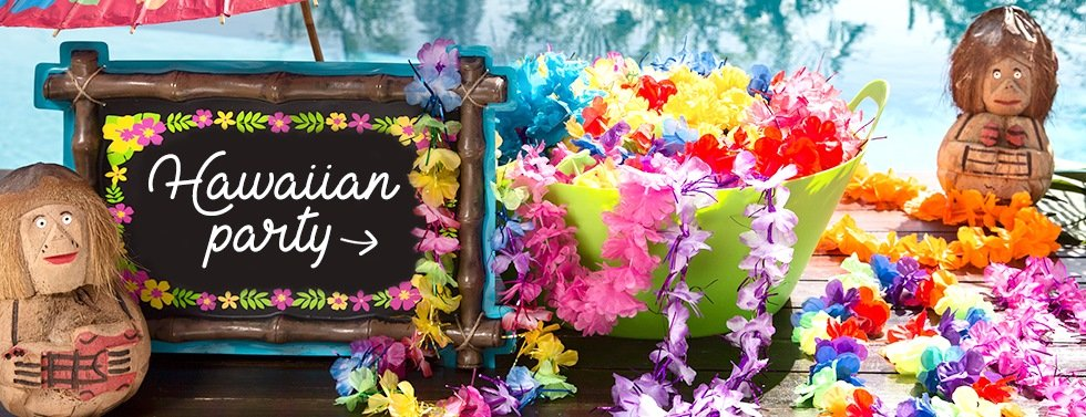 Hawaiian Party, Get your luau on with our tropical tiki decorations, fancy dress & accessories.