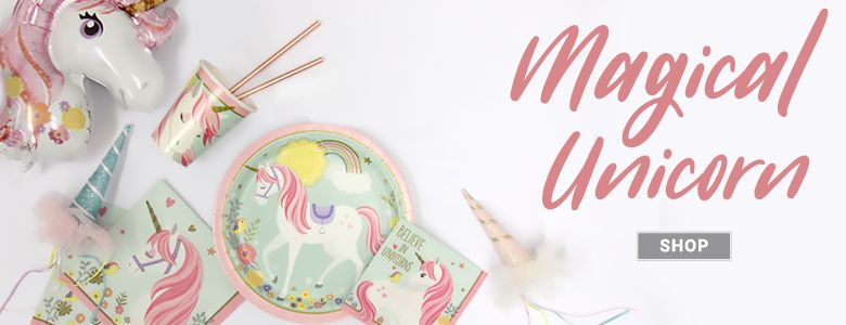 We believe in unicorns! This pretty party range includes tableware, decorations & balloons.