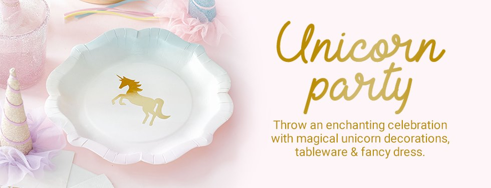 Unicorn Party, Throw an enchanting celebration with magical unicorn decorations, tableware & fancy dress.