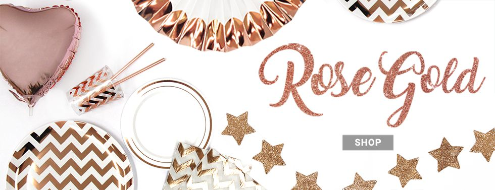 Elegant & super-stylish, find tableware, decorations & more in a gorgeous shade of rose gold.