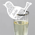 Something in the Air Bird Wedding Place Cards for Glasses - White