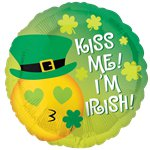 "St Patricks Day Kiss Me Emoticon Balloon - 18"" Foil"