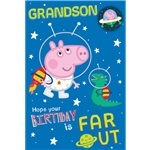 Peppa Pig Grandson Birthday Card - Space Theme