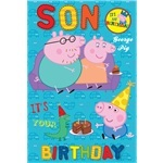 Peppa Pig Son Birthday Card with Badge