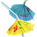 Luau Cocktail Umbrella Plastic Straws